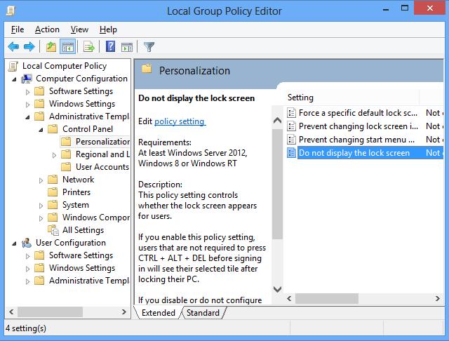 Cara Menonaktifkan Windows 8 Lock Screen