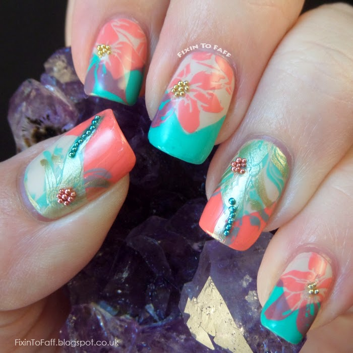 Stamped floral coral turquoise nude microbeaded V-tip nail art