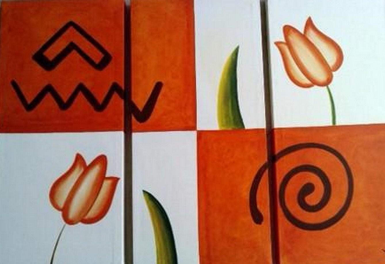 Cuadros artisticos y minimalistas de flores pintura al - Cuadros tripticos ...