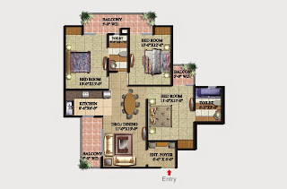Livingston :: Floor Plans,Block D:-3 BHK (Type D2)3 Bedroom, 2 Toilet, Kitchen, Dining, Drawing, 3 Balconies, Entrance Foyer Super Area - 1425 Sq Ft