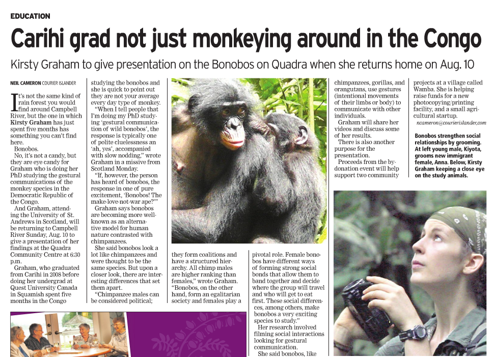 Chimps and bonobos share the same language  Daily Mail