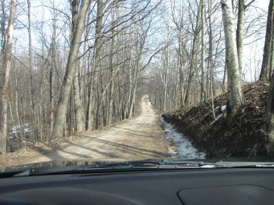 narrow, wooded Baseline Road