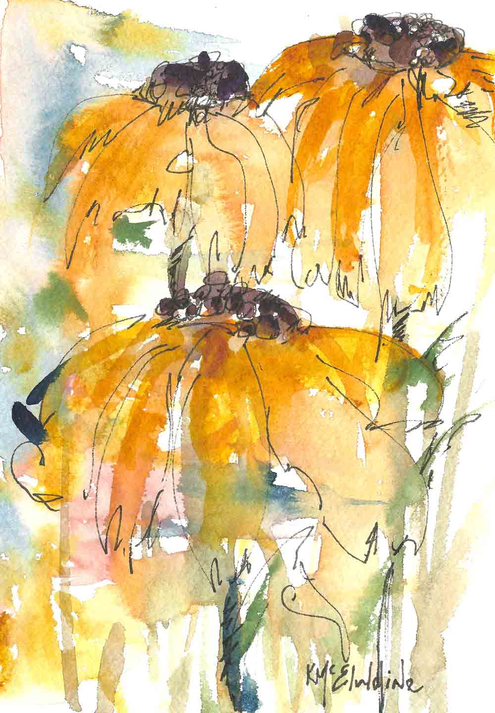 7 x 5 watercolor painting abstract sunflowers kathleen for Abstract watercolour flowers