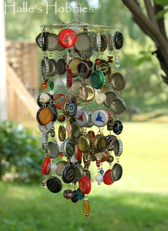 Recycled garden decor mindful living network for Bottle cap wind chime