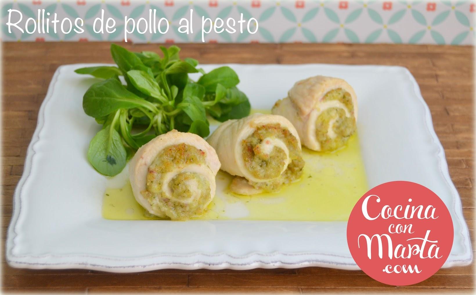 Receta Rollitos de pollo rellenos de pesto. Fácil, rápida, niños. Cocina con Marta.