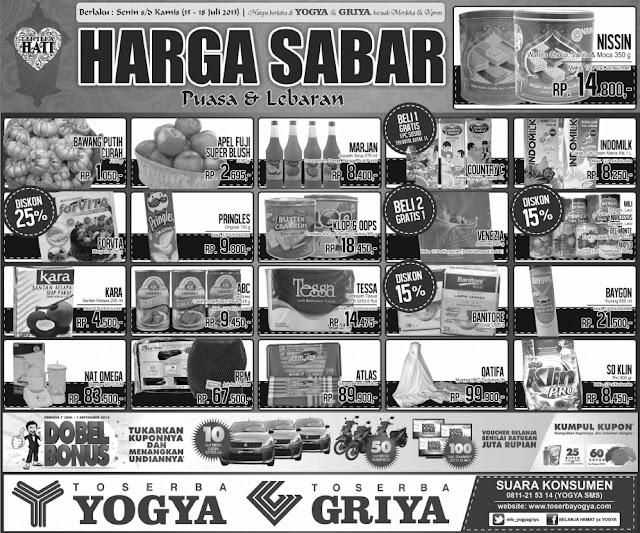 Toserba Yogya Weekday Promo (Harga Sabar) Terbaru Periode 15 – 18 Juli 2013