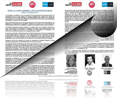 Imaxe do comunicado conxunto de CC.OO, UGT e ACB para a xunta xeral de accionistas do BBVA 2013