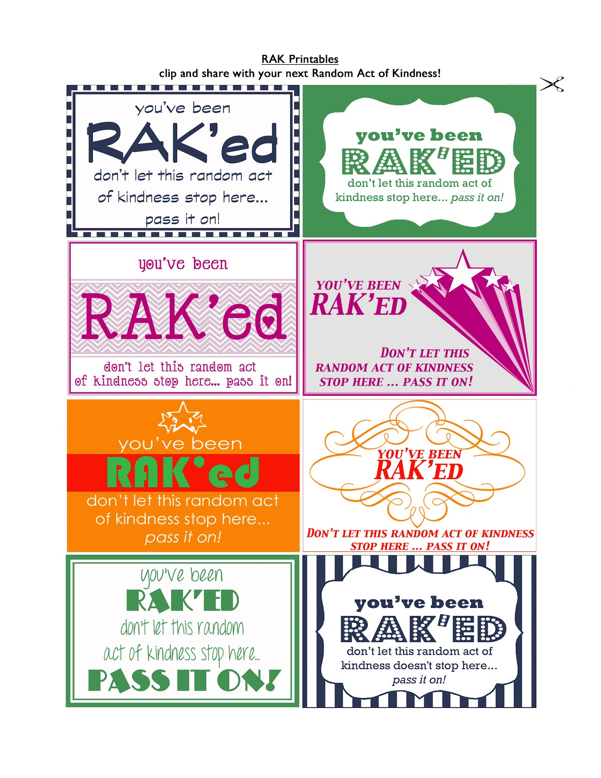 This is an image of Candid Random Acts of Kindness Cards Printable