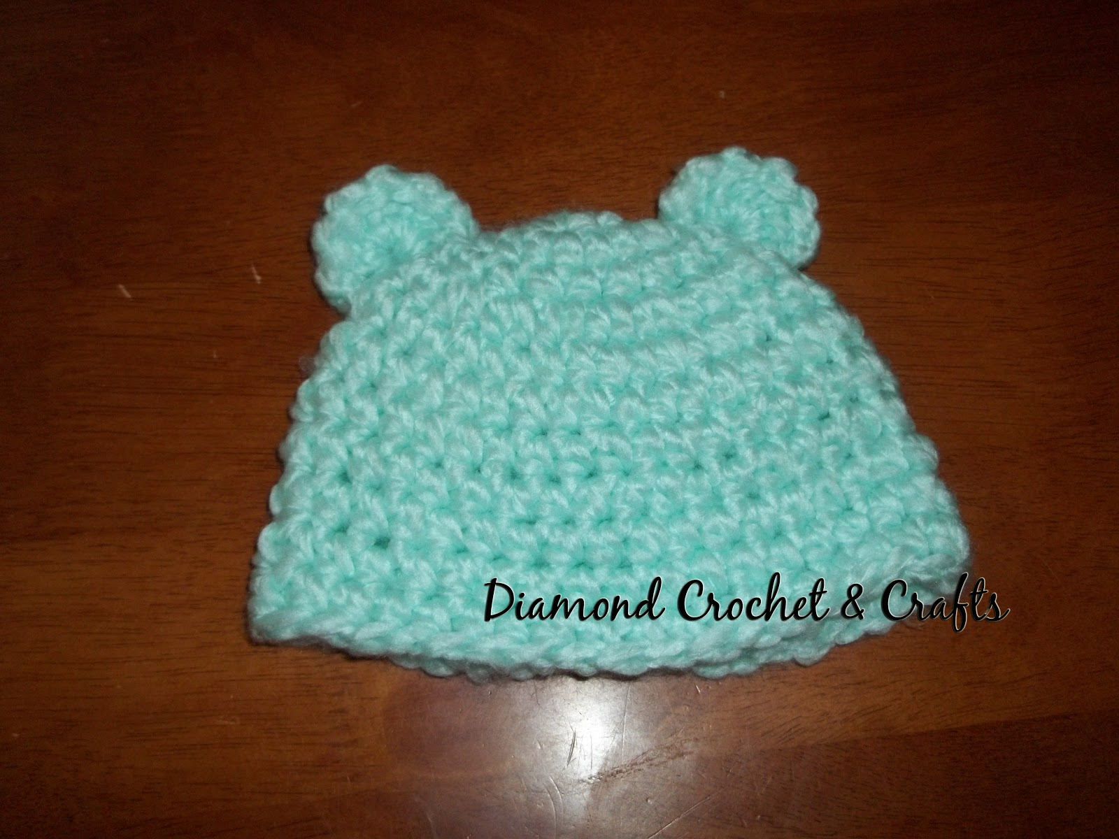 Crochet Baby Hat Patterns 0 3 Months : Diamond Rose Crafts: Fuzzy Bear Baby Beanie Pattern 0-3 Months