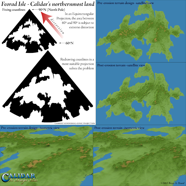 Feorad Isle, Calidar's northernmost land, Lambert Conformal Conic Projection