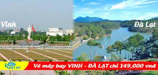 Giá vé máy bay Vinh đi Đà Lạt chỉ 149K VNĐ