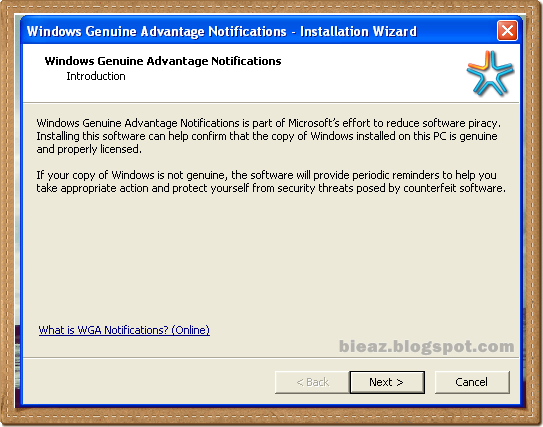 window genuine advantage