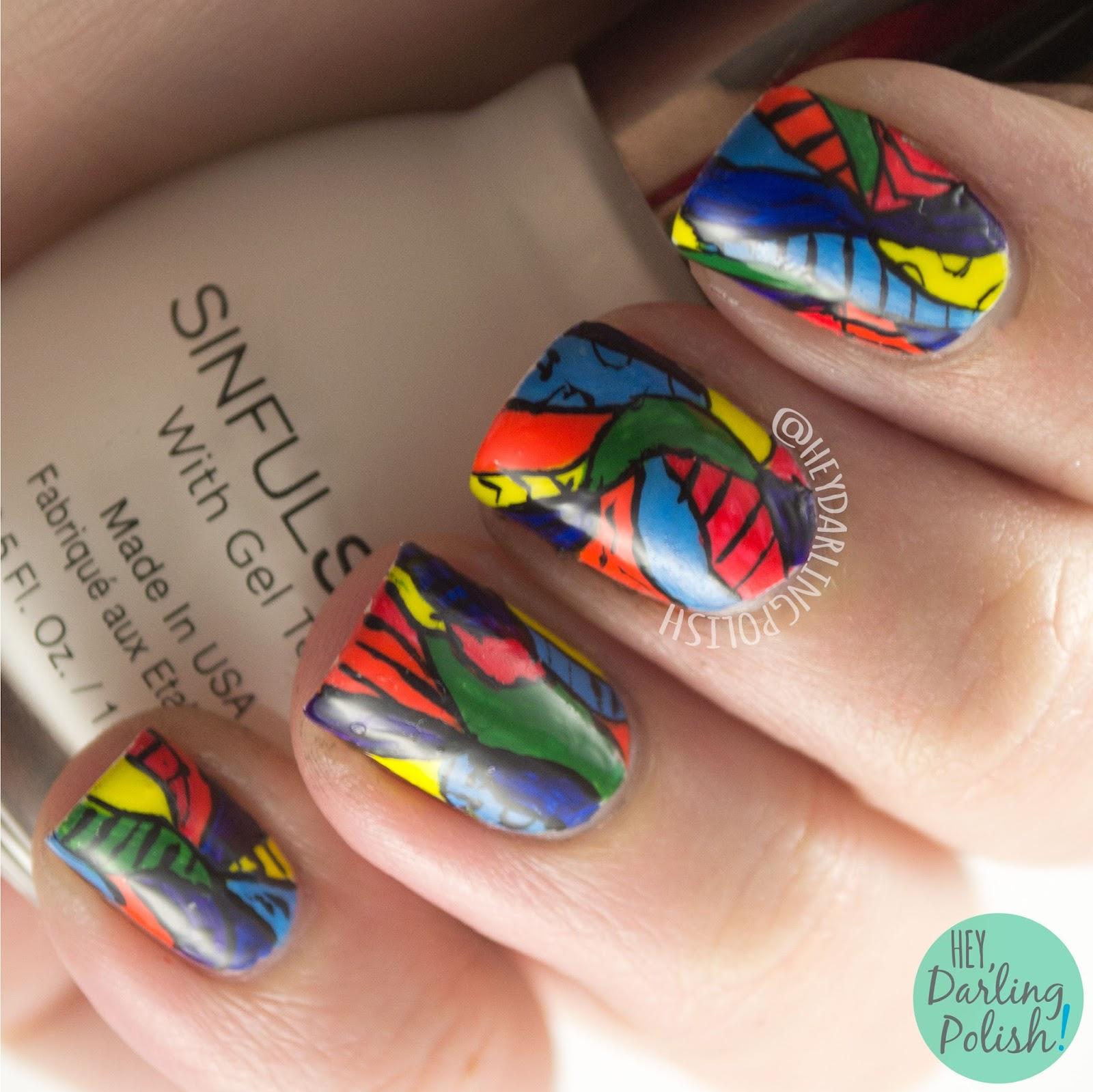 nails, nail art, nail polish, rainbow, bright, pattern, hey darling polish, 31 day challenge 2015,