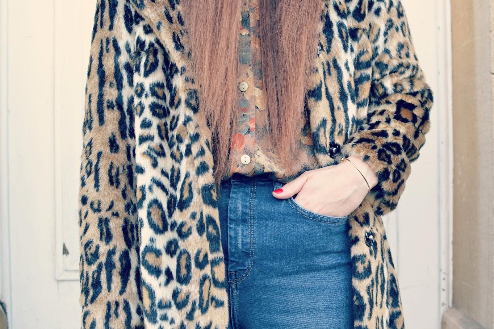 print mix Topshop coat Topshop Binx jeans vintage blouse