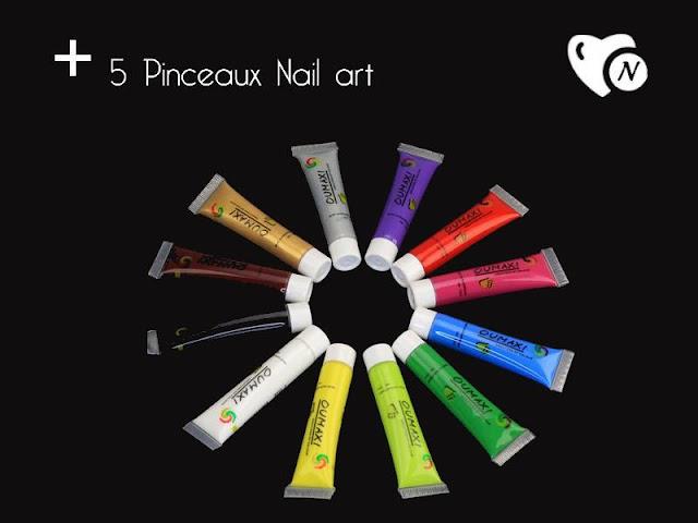 Jeu Naily Box: 12 peintures OUMAXI + un set de 5 pinceaux nail art