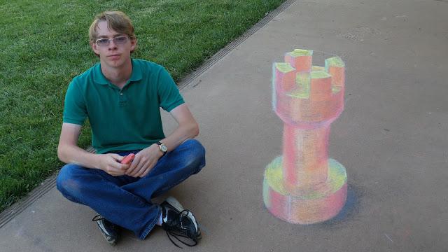 Anamorphic 3D chalk illusion