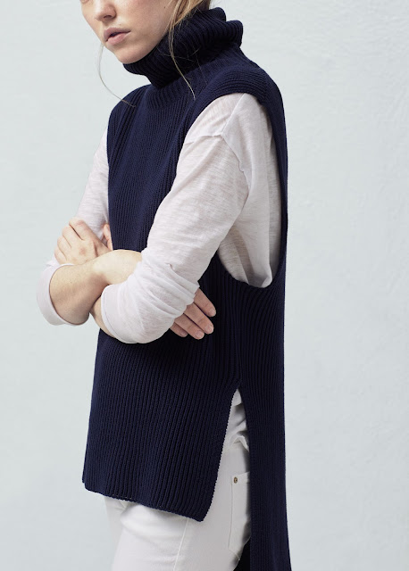 navy knit sleeveless jumper, navy knit gilet,