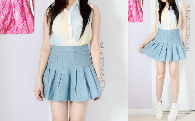 Full pictures of the ulzzang-inspired spring/summer outfit featuring a watercolor Romwe blouse, a pleated AA-inspired denim tennis skirt from SheIn, and a pair of Jeffrey Campbell Lita Spike dupe booties.