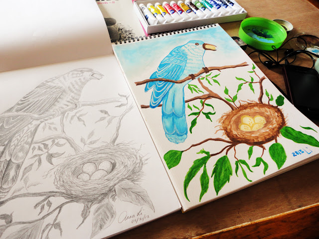 Art Li and Stuff -  The bird and its nest.  Drawing and watercolour painting