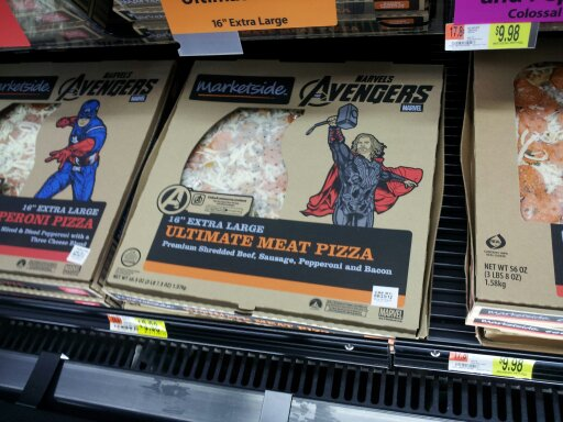 Walmart Marketside pizza with Thor from Marvels Avengers