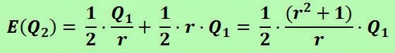 Calculating the expected value E(Q2)= 1/2 (Q1/r) + 1/2 (r Q1) = 1/2 (r^2+1) (Q1/r)