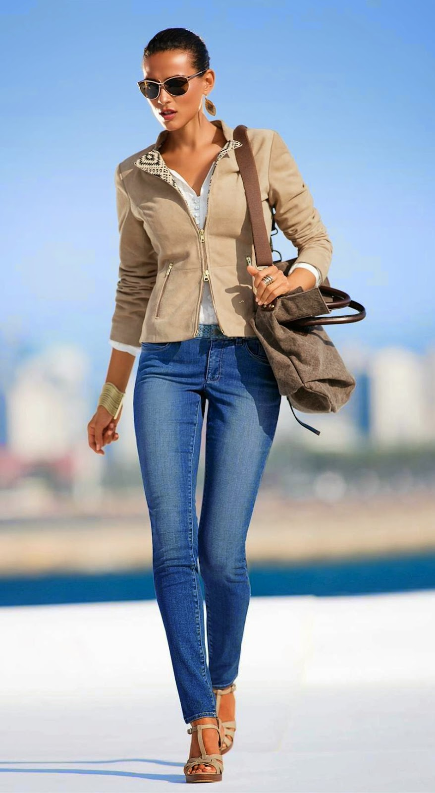 Madeleine Leather Jacket in Sand