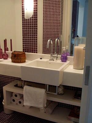 decoração de banheiros com cuba de semi-encaixe