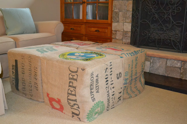 slipcover ottoman with burlap