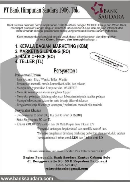 Lowongan Kerja Bank Saudara Oktober 2012 untuk Area Klaten, Sragen & Wonogiri