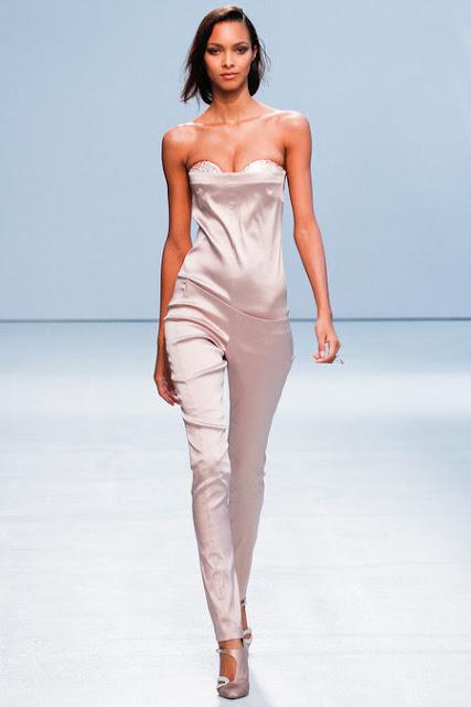 Ann Valerie Hash Paris Fashion Week 2012, Spring 2013 Ready to Wear, pastel light pink strapless jumpsuit pampsuit