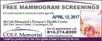 4-12 Free Mammogram Screenings