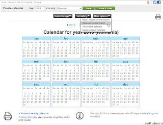 Generator calendar - TimeAndDate.com - setari avansate