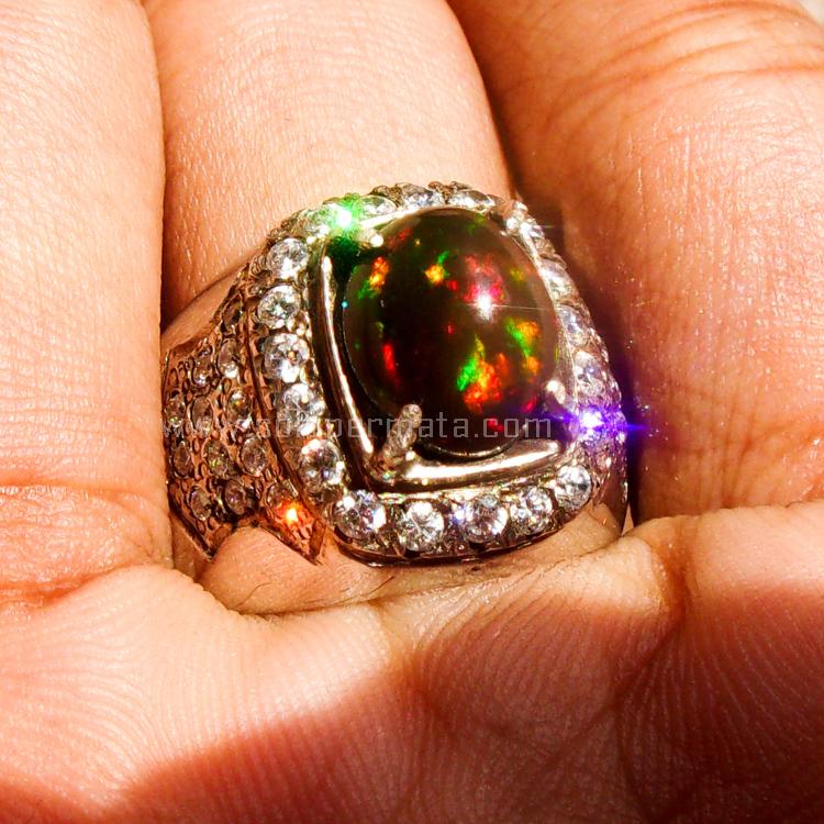 Cincin Batu Permata  Black Opal Kalimaya - SP682