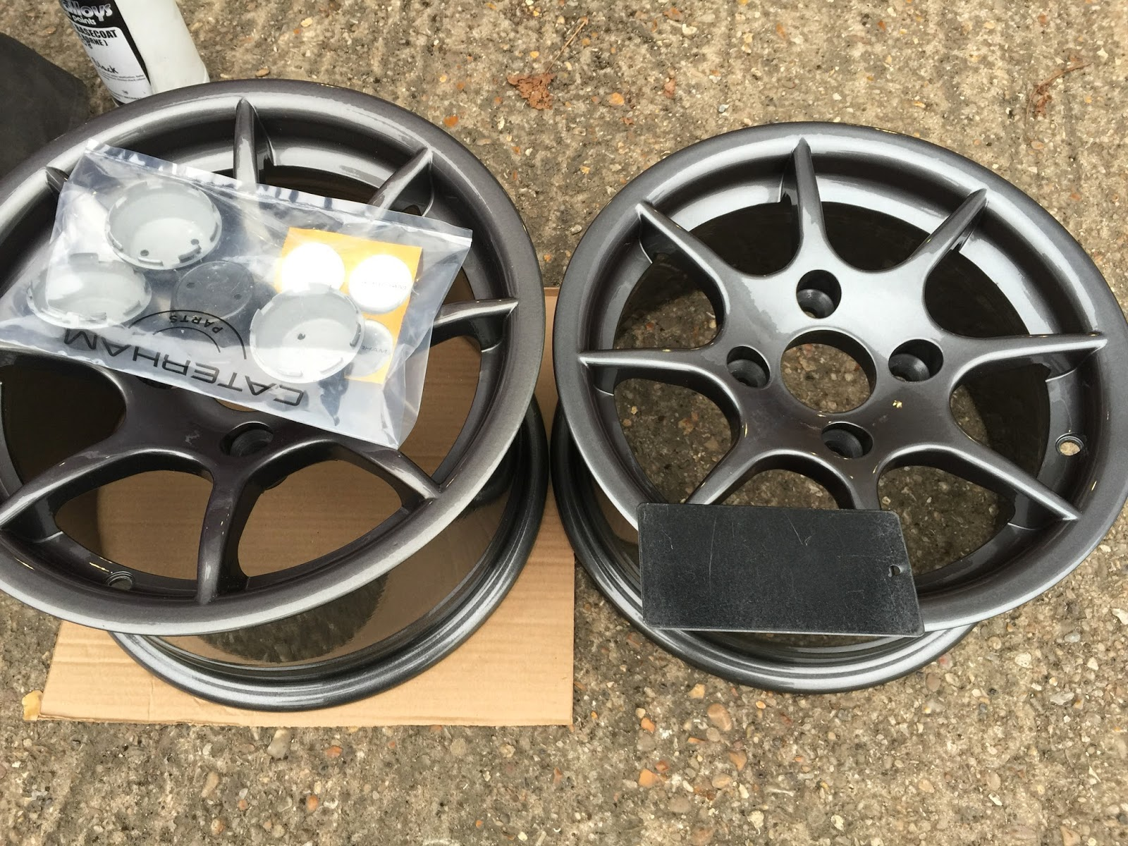 "Caterham R500 8 spoke 13"" wheels in factory finish anthracite grey."