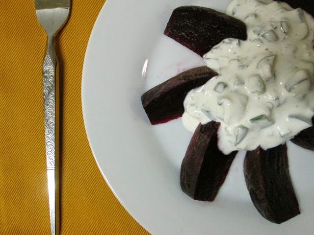 Roasted Beets with Jalapeno Cream