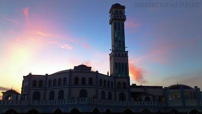masjid terapung penang, awan merah,