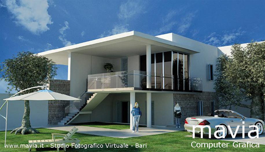 Très Esterni 3d,Rendering 3d,Architettura 3d: 3d Villa: villa  KZ26