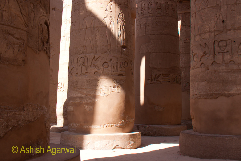 Light and shadow on a pillar inside the Hypostyle Hall in the Karnak temple