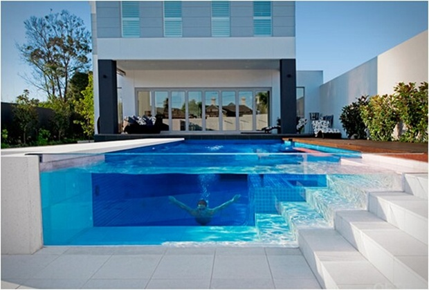 Pix guru glass swimming pool design ideas for Pool veranda designs