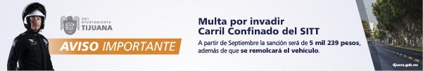 Multa por invadir Carril Confinado del SITT