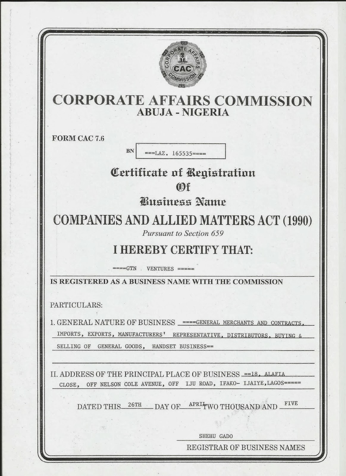 Lets help you grow your business into a highly profitable gtn ventures cac certificate yelopaper Image collections