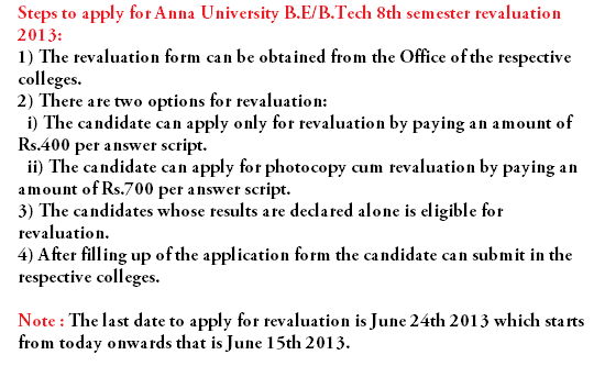 Anna University BE/B.Tech 2013 Revaluation Form