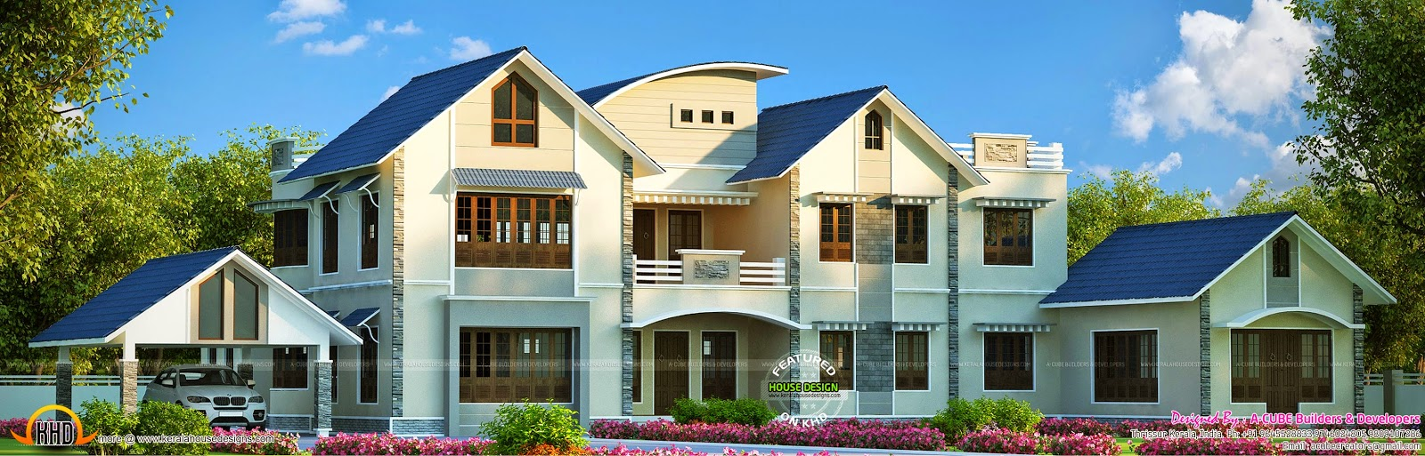 widely spread luxury house kerala home design and floor plans
