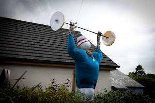Olympic scarecrows Kilkampton Cornwall