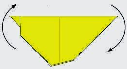 Bước 6: Xoay cho tờ giấy có thể đứng được.