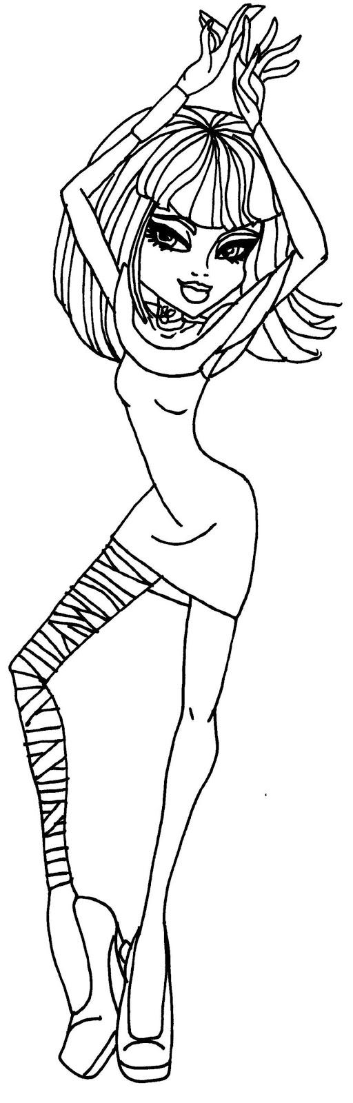 Monster High dibujos para imprimir y colorear: Dibujos Monster High Cleo del nilo 04