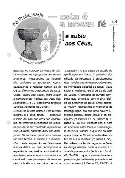 Credo niceno-constantinopolitano: Ascensão — Laboratório da fé