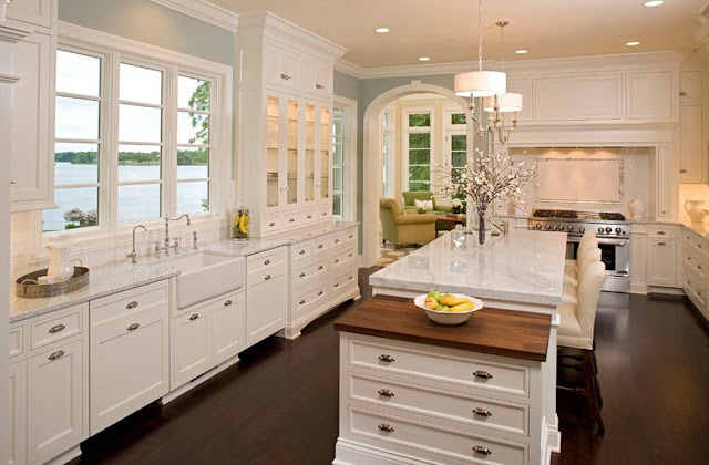 white kitchen design blue gray walls