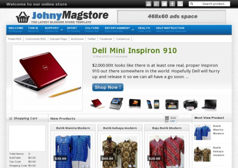 Johny Magstore Responsive e-shopping Blogger Template Free Download