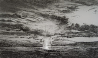 Volcano Fumes at Night Sketch Katherine Kean graphite 6 x 10 inches